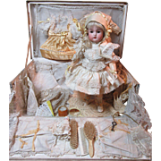 Darling Antique Doll With Original Presentation Trunk & Trousseau