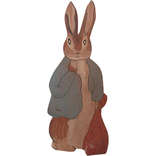 Wonderful Hand Painted Peter Rabbit Folk Art