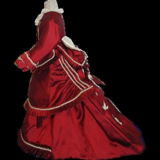 Beautiful Cranberry Red Silk French Fashion Doll Dress