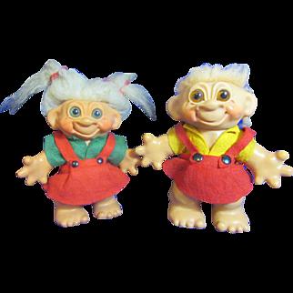 Two 1960's Dam Troll Dolls
