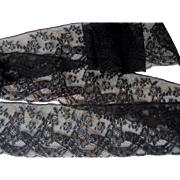 Rare Antique French Cotton Black Lace