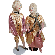 Marvelous Pair Of Colonial Cloth Dolls