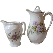 Lovely Antique German China Tea Pot & Creamer