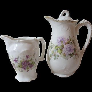 Lovely Antique German China Tea Pot & Creamer