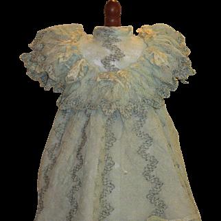 Antique Factory Doll Dress-Aqua Lace!