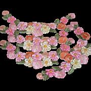 Four Large Satin Flower/Roses Ribbonwork Appliques