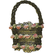 Elegant Antique Flower Basket Silk Rose Applique