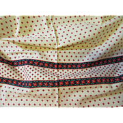 Pretty Vintage Cotton Fabric-Red/Cream