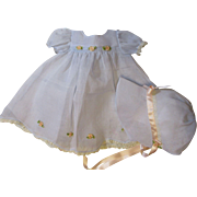 Gorgeous Dy Dee Baby Organdy Dress & Bonnet