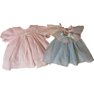 Two Vintage Factory Doll Dresses-Shirley Temple