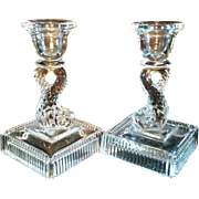 Imperial Glass Dolphin Candlesticks