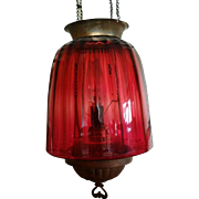 Antique Cranberry Hanging Lamp