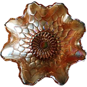 Dugan Fish Scale and Bead Carnival Glass Bowl
