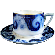 Large Flow Blue Cup and Saucer