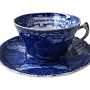 Flow Blue Souvenir of NY Cup and Saucer