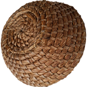 Two Primitive Rye Grass Baskets