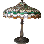 Bradley and Hubbard Table Lamp with Stained Glass Shade