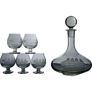 Romanian Ship Decanter and 5 Cordial Glasses