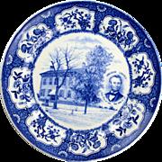 Blue Transferware Lincoln Home in Springfield Illinois Plate
