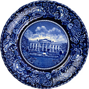 Blue Transferware Plate of the White House by Roland and Marsellis, England
