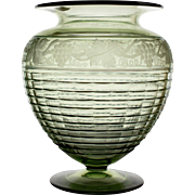 Beautiful Green Steuben Vase with Etched Grape and Vine
