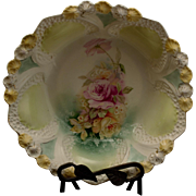 RS Prussia Bowl with Shell Border and Rose Decoration