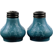 Blue Delphite Salt and Pepper Shakers with Pewter Tops Fleur De Lis Decoration