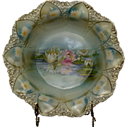 RS Prussia Mold 92 Bowl with Reflecting Water Lilies