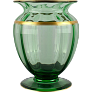 Large Mellon Ribbed Green Glass Vase