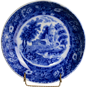 Rowland and Marseilles Flow Blue Bowl with Castle Scene