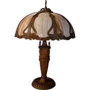 Eight Panel Slag Glass Table Lamp