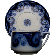 Flow Blue Cup and Saucer made in Germany