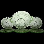 Indiana Glass Green Pear Dessert Set