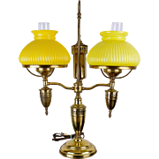 Double Student Lamp with Yellow Shades