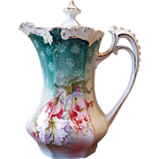 RS Prussia Rosebud Mold Chocolate Pot