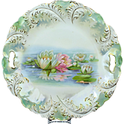 RS Prussia Plume Mold with Reflecting Water Lilies Cake Plate
