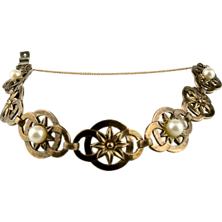 Symmetalic Sterling and 14k Gold Bracelet