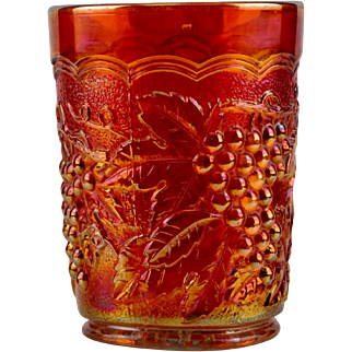 Imperial Marigold Carnival Glass Grape and Leaf Tumbler