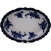 "Stanley Pottery Flow Blue Platter in the ""Touraine"" Pattern"