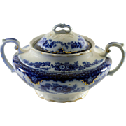 Florida Pattern Flow Blue Sugar Bowl by WH Grindley