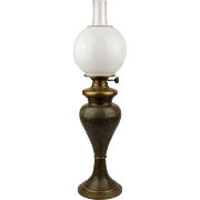 Egyptian Revival Style Brass Table Lamp with GWTW Style Shade