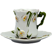 Dainty Little Jonquil Mold RS Prussia Demitasse Cup and Saucer
