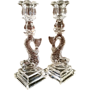 Sandwich Glass Dolphin Candlesticks