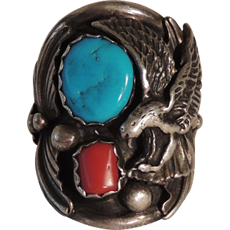 Elgin Hoskey Native American Navajo Sterling Silver Men's Ring