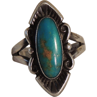 Bell Trading Post Hallmarked Sterling Turquoise Ring