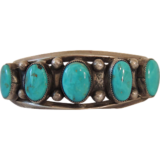 Early Native American Sterling & Turquoise Bracelet *Christmas Sale*