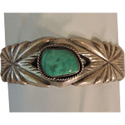 Native American Sterling Turquoise Cuff Bracelet