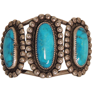 Native American Turquoise and Sterling Bracelet Signed