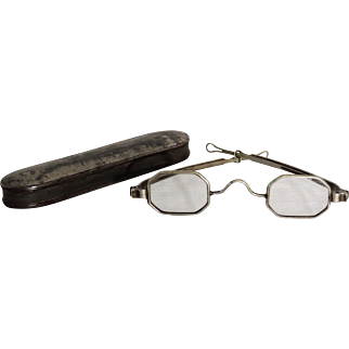 19th Century Octagonal Framed Spectacles with Sliding Temple & Tin Case