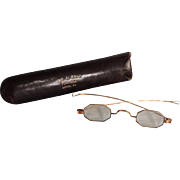 19th Century Gold Plated Octagonal Framed Spectacles with Case